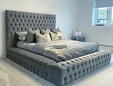 Beds & Co Grey Plush Velvet Upholstered Regal