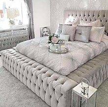 Beds & Co Silver Plush Velvet Upholstered Regal