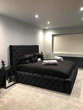 Beds & Co Velvet Black Plush Upholstered Regal