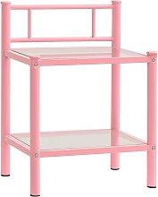 Bedside Cabinet Pink&Transparent 45x34.5x60.5 cm