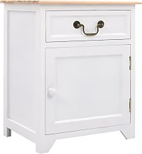 Bedside Cabinet White and Brown 40x30x50 cm