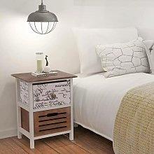 Bedside Cabinet Wood VD09496 - Hommoo