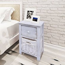 Bedside Cabinet Wood White - White
