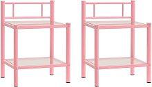 Bedside Cabinets 2 pcs Pink and Transparent Metal