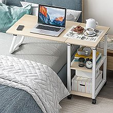 Bedside Overbed Table, Medical Side Table with 4