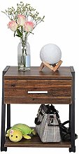 Bedside Table, 2 Tier Wooden End Table Storage