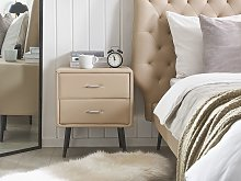 Bedside Table Beige Faux Leather Upholstery 2