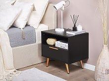 Bedside Table Black MDF Golden Metal Legs Storage