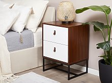 Bedside Table Dark Wood with White Metal Legs