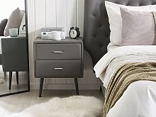 Bedside Table Grey Faux Leather Upholstery 2