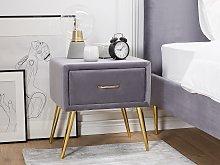 Bedside Table Grey Velvet Upholstery Nightstand 1