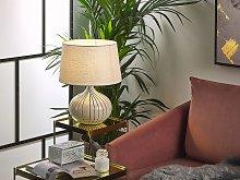 Bedside Table Lamp Beige and Black Ceramic 45 cm