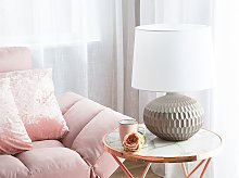 Bedside Table Lamp Gold Round Base White Shade