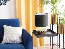 Bedside Table Lamp Golden Base Black Drum Shape