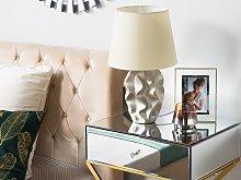 Bedside Table Lamp Golden Base Cream Shade