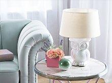 Bedside Table Lamp Owl Animal Base White Cream