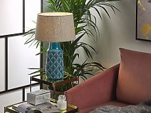 Bedside Table Lamp Sea Blue and Grey Ceramic 55 cm