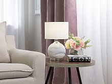 Bedside Table Lamp Silver Round Base White Drum