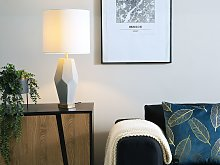 Bedside Table Lamp White with Concrete Geometric
