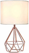 Bedside Table Lamp with White Fabric Shade Metal
