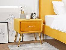 Bedside Table Yellow Velvet Upholstery Nightstand