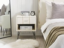 Bedsisde Table White Faux Leather Upholstery