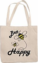 Bee Happy Reusable Tote Jute Bag Canvas Shopping