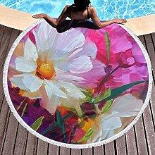 Bee Printed Round Beach Towel Yoga Picnic Mat
