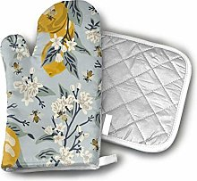 Bees and Lemons - Blue Oven Mitts and Pot Holders