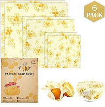 Beeswax Food Wraps, Set of 6 Pack, Reusable Eco