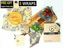 Beeswax Wraps Set of 5 Including Organic Produce