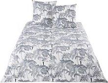 Beige Cotton Bedding Set with Anthracite Grey Palm