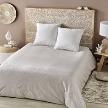 Beige Cotton Bedding Set with White Embroidery