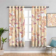 Beige Decor Black Out Curtains for Bedroom Pastel