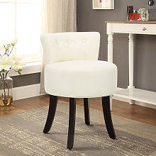 Beige Dressing Table Stool Fabric Vanity Chair