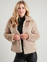 Beige Faux Fur Jacket - 10