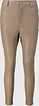Beige Faux Leather Trousers - 16
