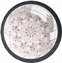 Beige Floral Round Knob Metal Cabinet Cupboard