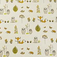 Beige Foxes and Owls Oilcloth Wipe Clean