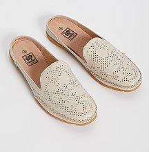 Beige Leather Comfort Mule - 6