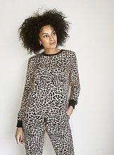 Beige Leopard Co-Ord Sweatshirt - 18