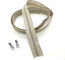 Beige Light Continuous Zip & Sliders No. 3 Zippers