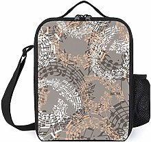 Beige Music Notation Insulated Lunch Boxes Cooler