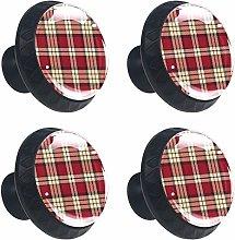 Beige & Red Scottish Plaid Round Drawer Knob Pull