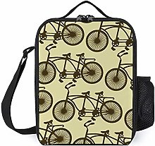 Beige Retro Bicycle Insulated Lunch Boxes Cooler