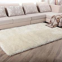 Beige Shaggy Area Fluffy Rug Floor Carpet,