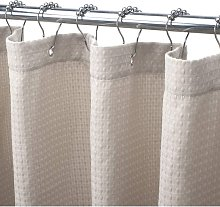 Beige Shower Curtain for room Waffle Shower