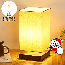 Beige Square Bedside Table Lamp Lamp with Fabric