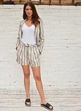 Beige Stripe Linen-Rich Shorts - 10