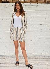 Beige Stripe Linen-Rich Shorts - 12